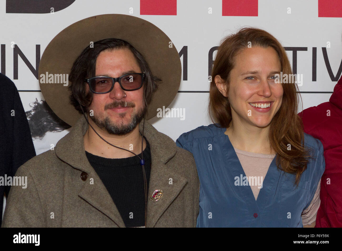 Turin, Italy. 21st Nov, 2015. Filmmakers Corin Hardy (left) and Josephine Decker (right) at Torino Film Festival. Stock Photo