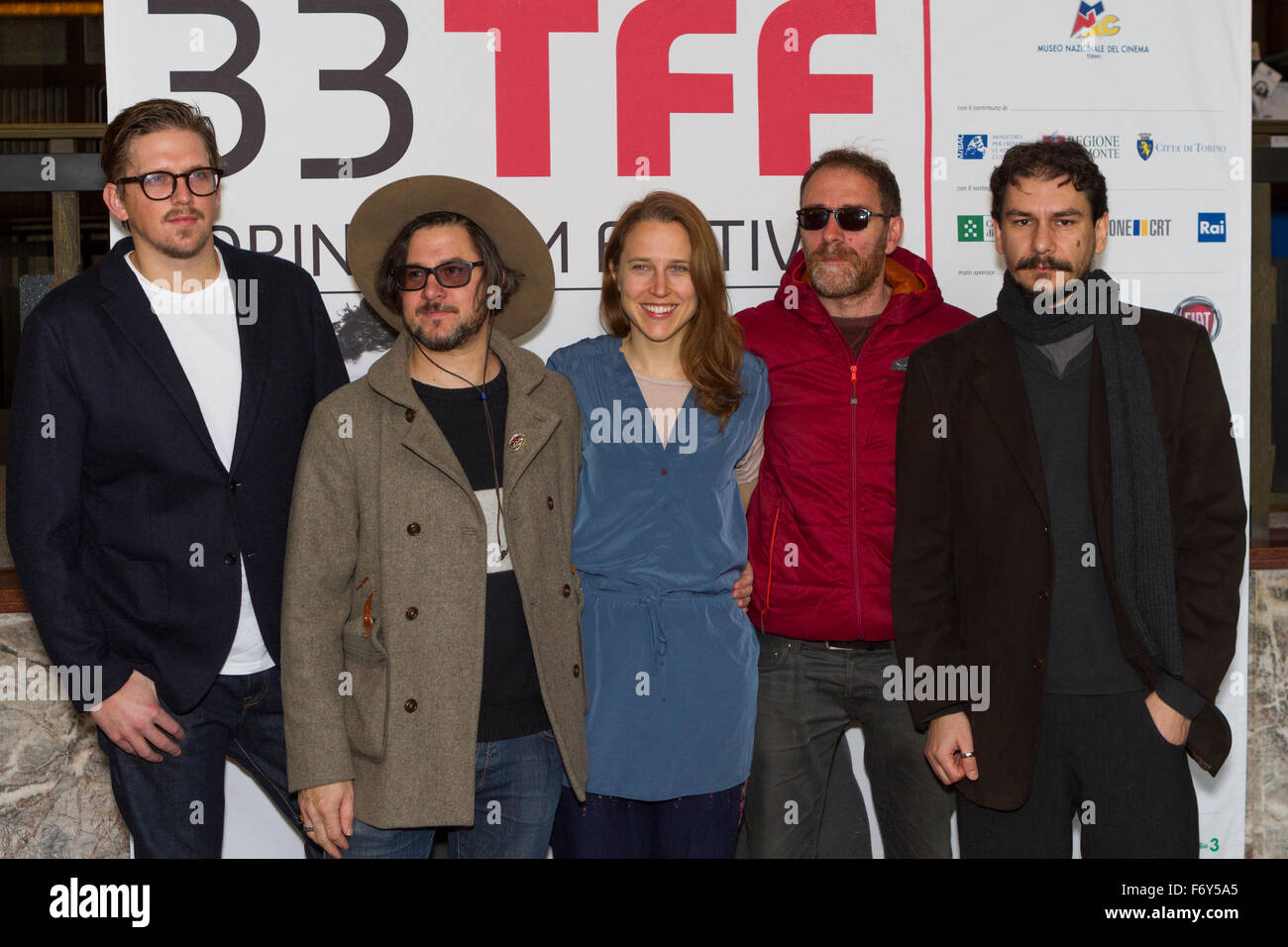 Turin, Italy. 21st Nov, 2015. The jury of Torino Film Festival: (from left to right) Jan Ole Gerster, Corin Hardy, - Stock Image