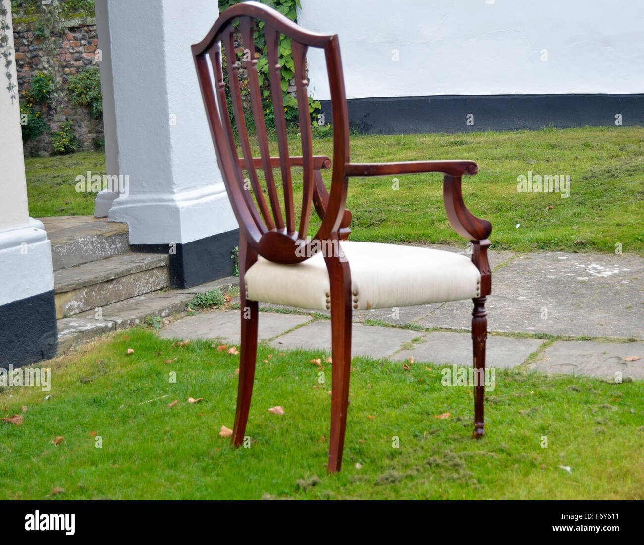 Large Oversize Chair Outside Antique Center In Lavenham Suffolk.   Stock  Image