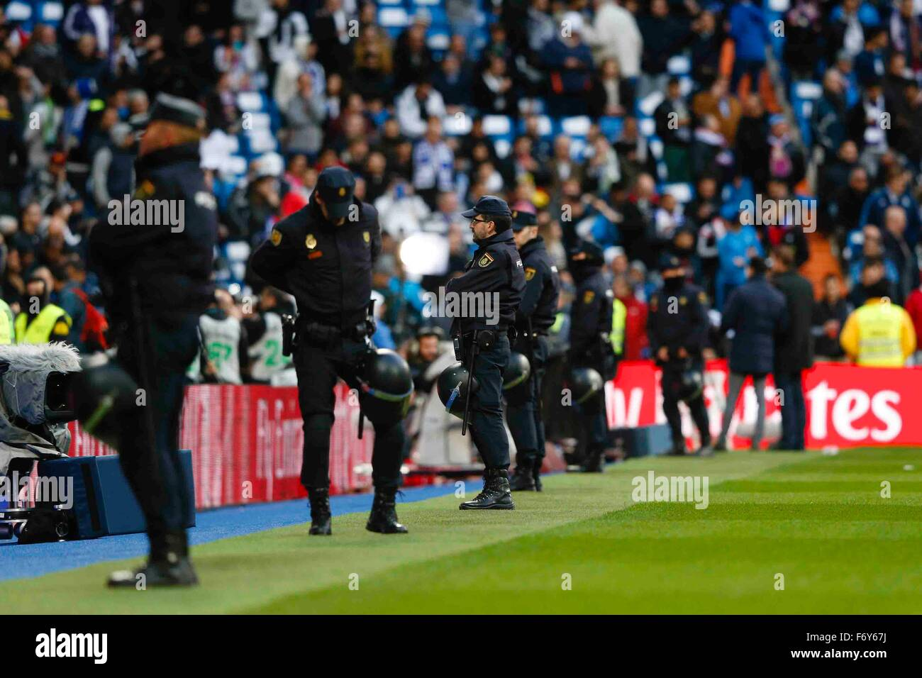 Madrid, Spain. 21st Nov, 2015. Security on high alert during the La Liga football match between Real Madrid and Stock Photo