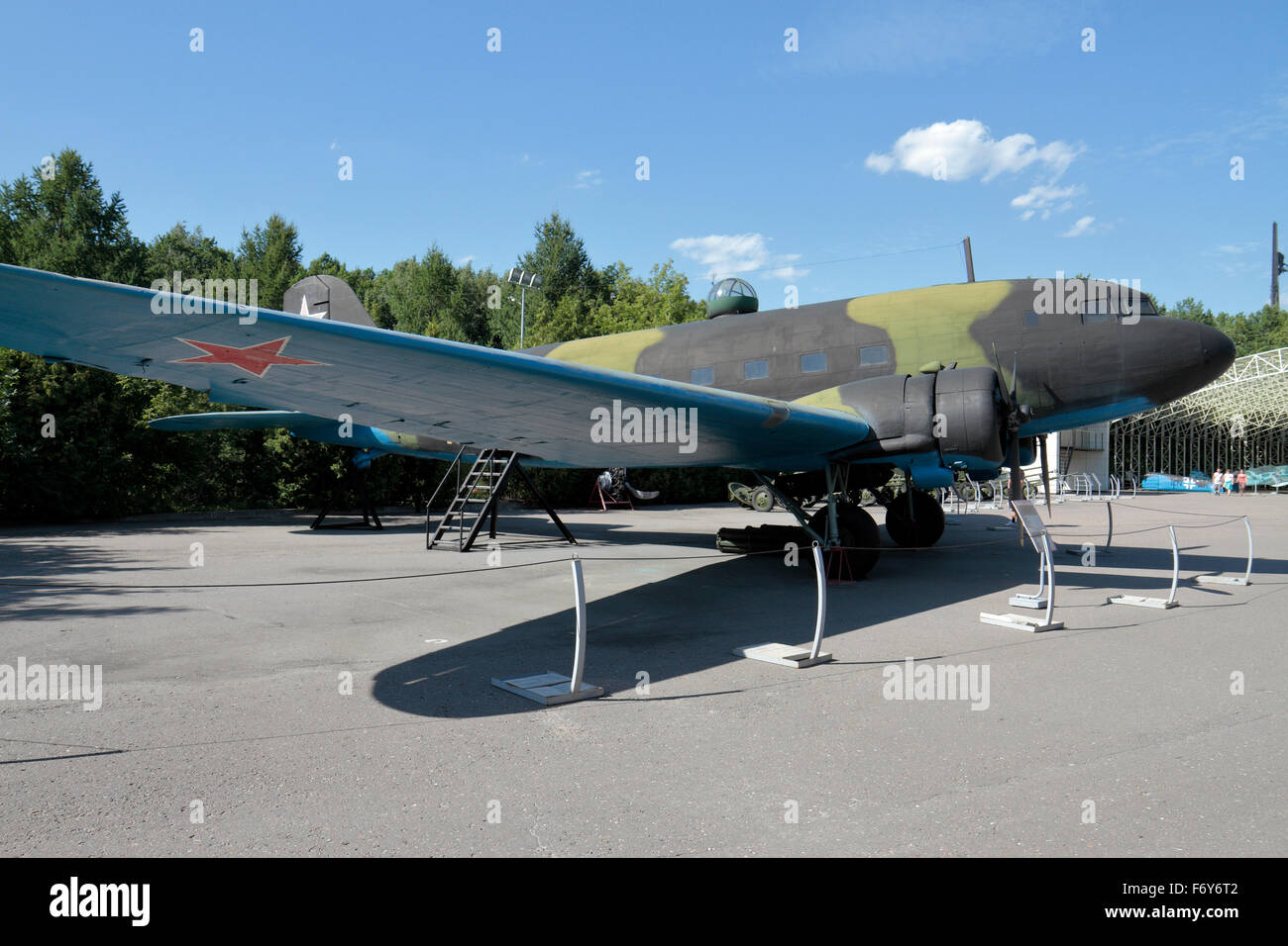 A Soviet Li-2 military transport plane from WWII in the Exposition of Military Equipment in Park Pobedy, Moscow, - Stock Image