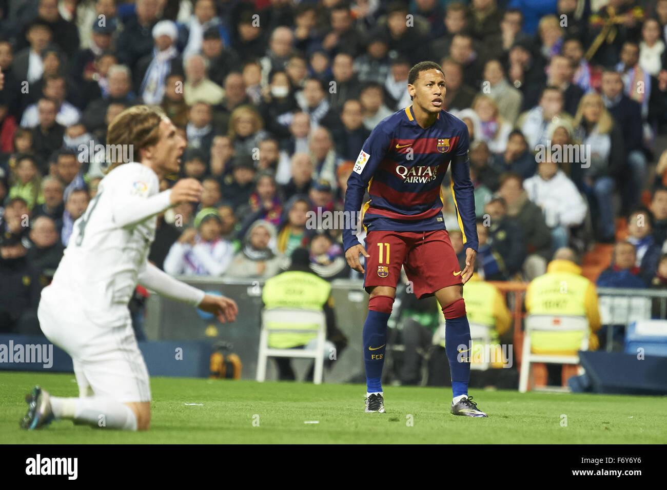 Madrid, Spain. 21st Nov, 2015. Neymar (forward, F.C. Barcelona) in action during La Liga match between Real Madrid Stock Photo