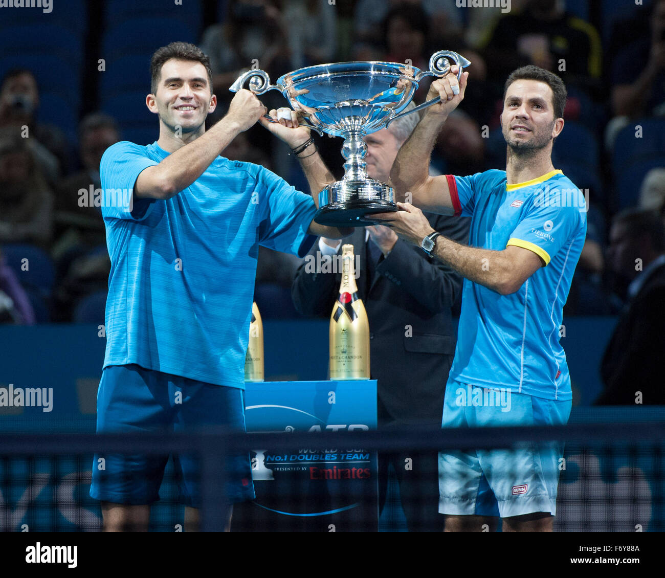21.11.2015. The O2, London, England. ATP Tennis Tour Finals. Day 7. Jean-Julien Rojer [NED] and Horia Tecau [ROU] - Stock Image