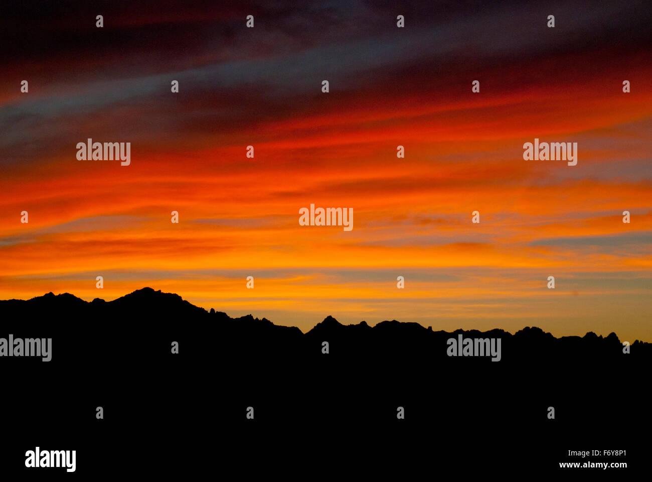 Sunset over the Sawtooth Mountains, Idaho - Stock Image