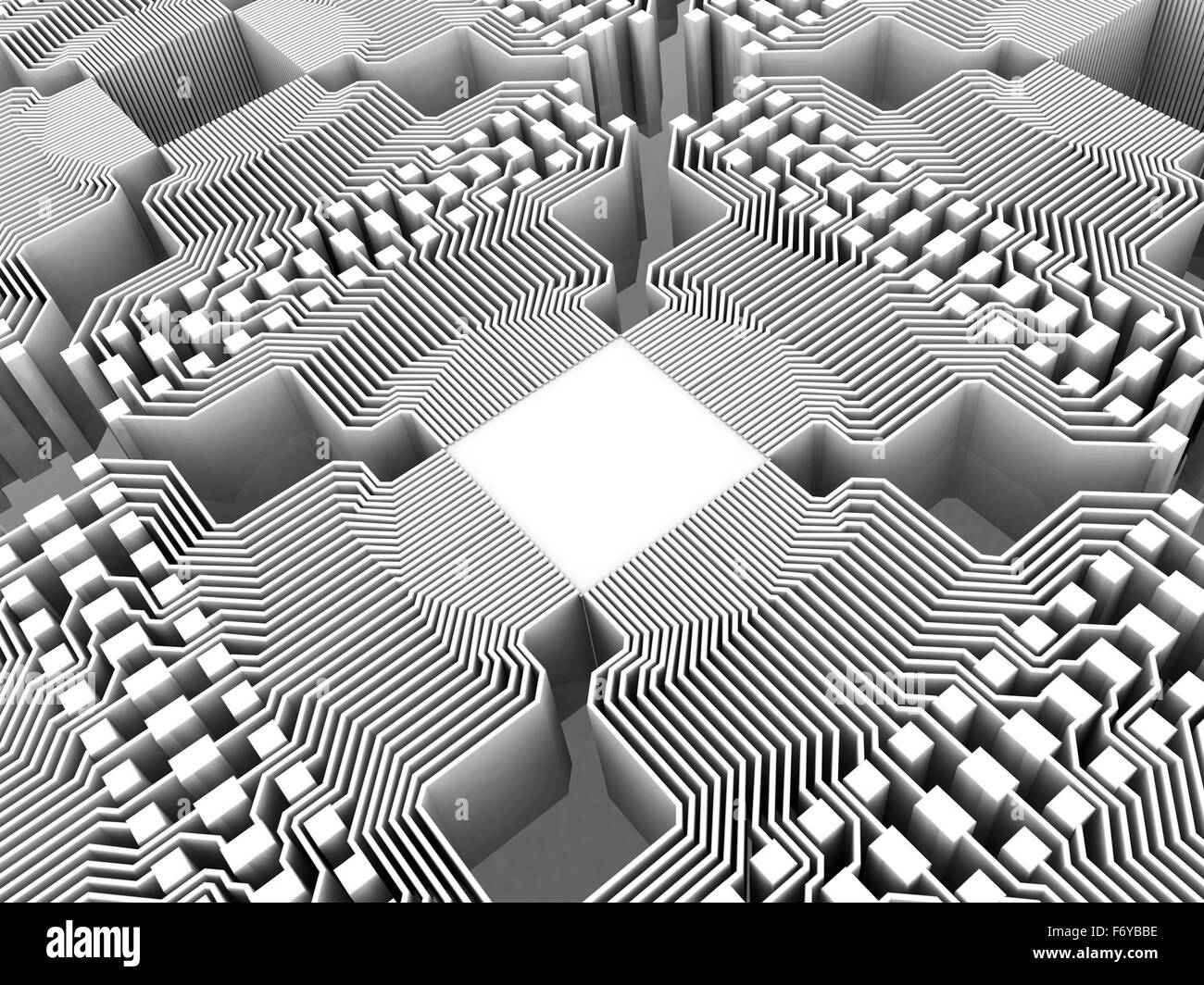 Quantum computer. Conceptual computer artwork of electronic circuitry as part of a quantum computer structure. Stock Photo
