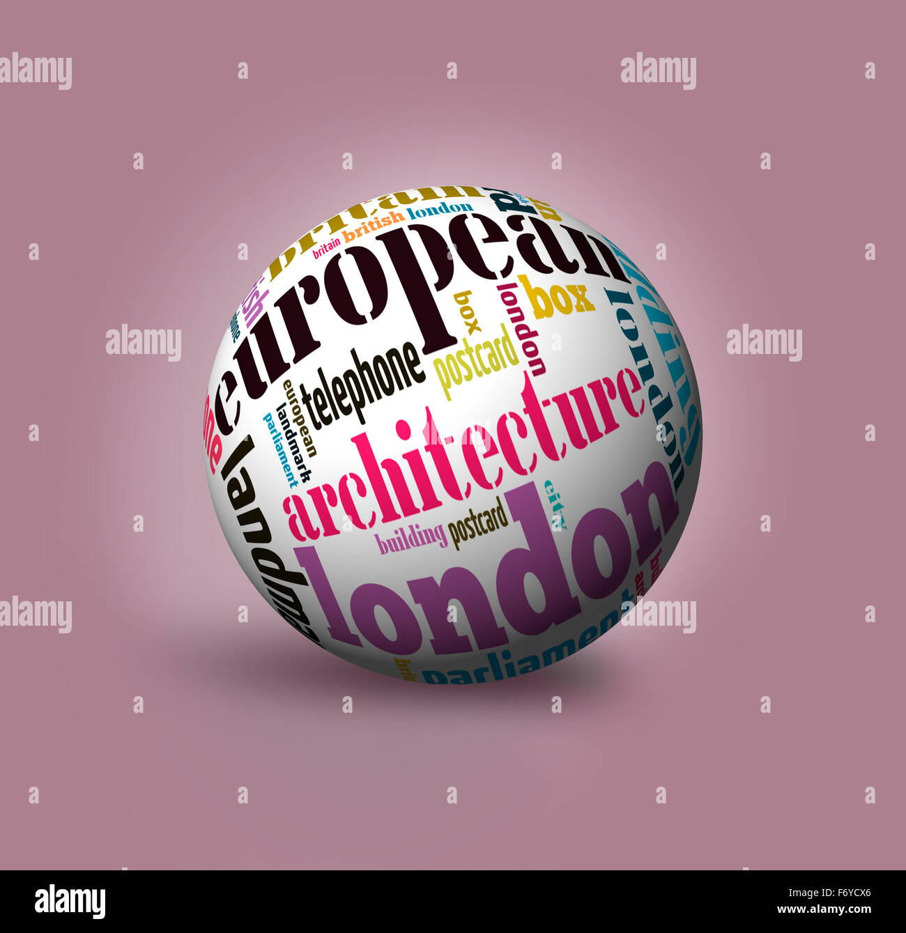 word cloud in a 3d globe on the symbols of London - Stock Image