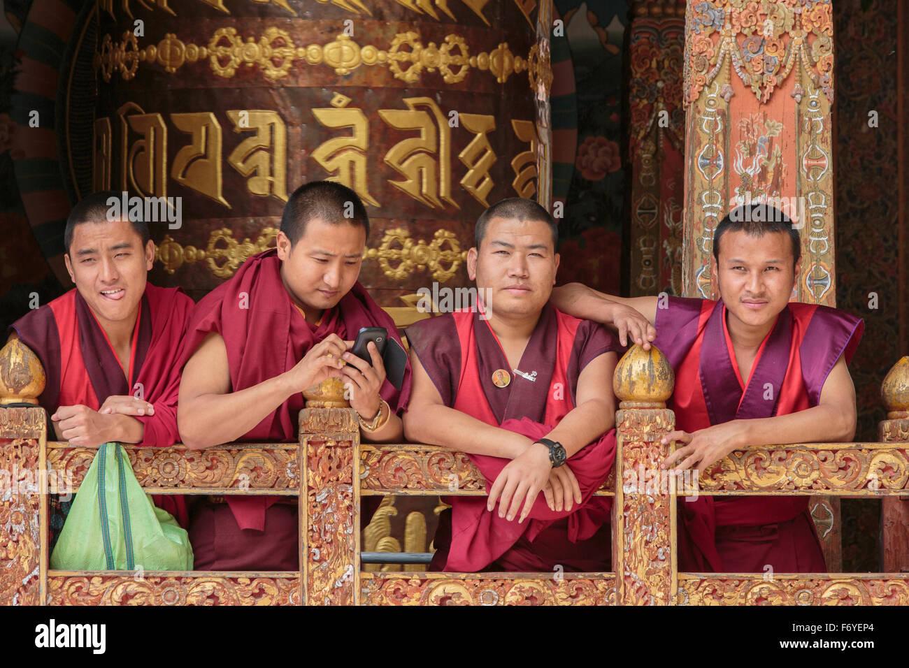 Monks, Bhutan - Stock Image