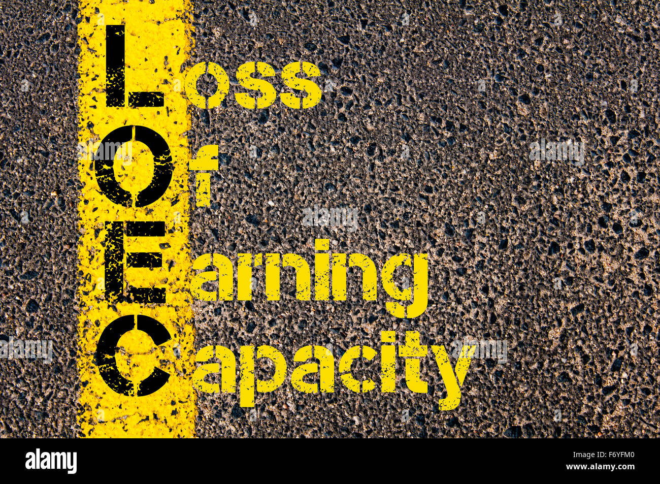 Concept image of Business Acronym LOEC as Loss Of Earning Capacity written over road marking yellow paint line. - Stock Image