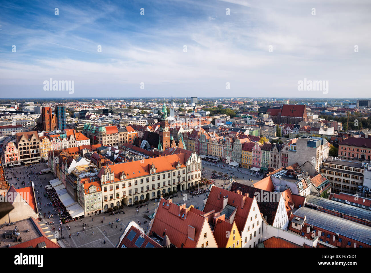 City of Wroclaw in Poland, Old Town Market Square from above. - Stock Image