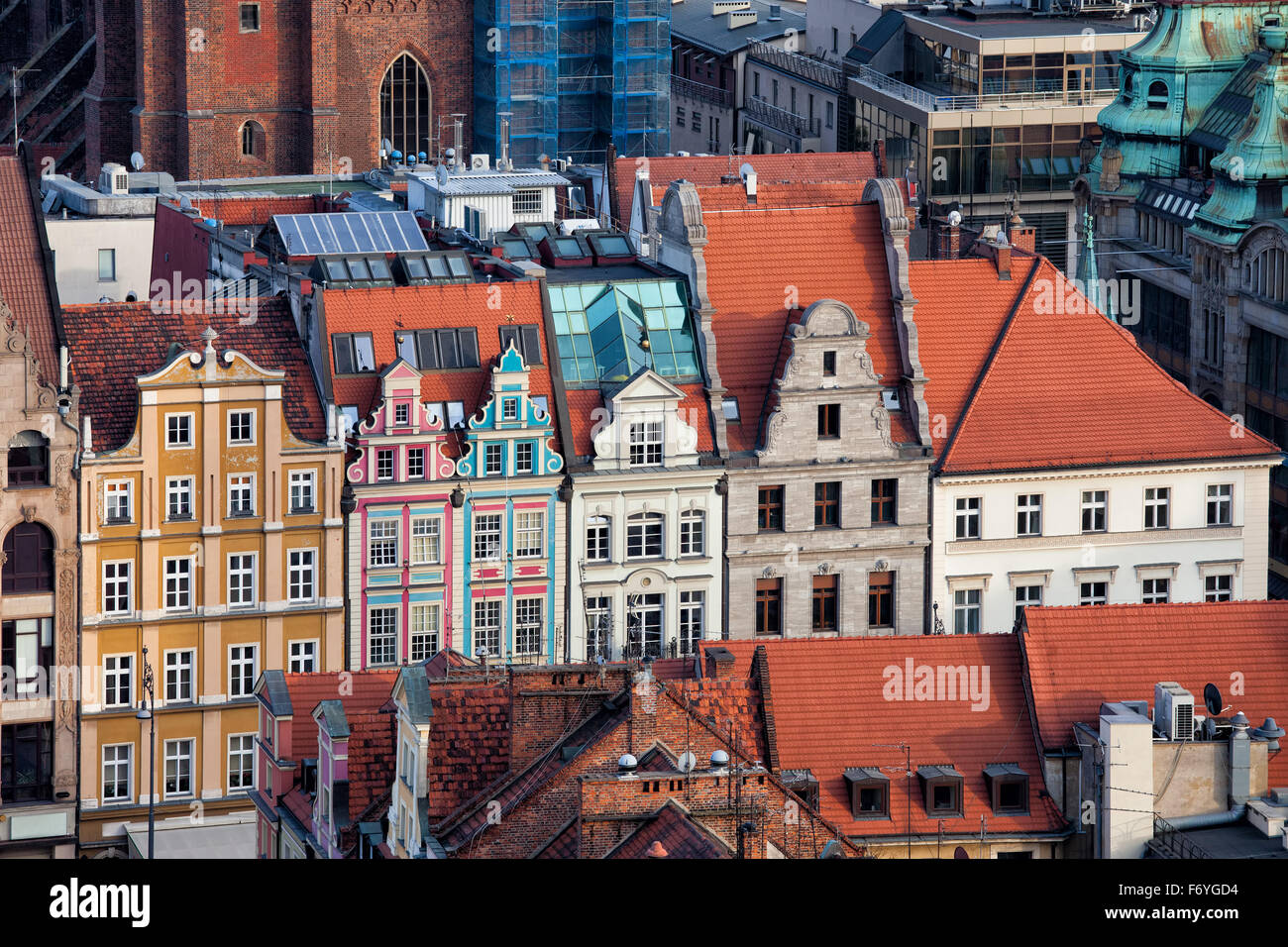 City of Wroclaw in Poland, historic tenement houses in the Old Town. - Stock Image