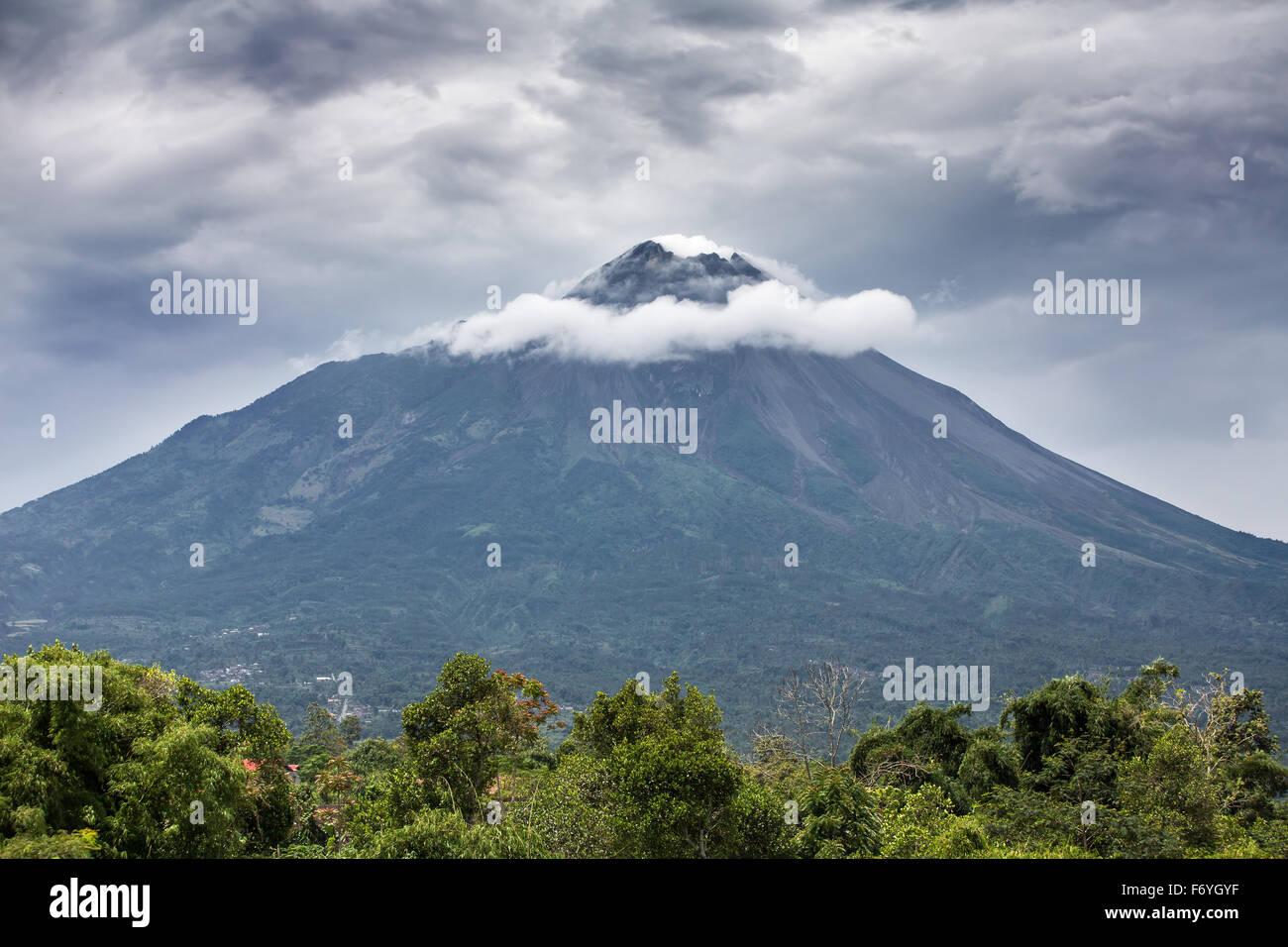 Mountain Merapi volcano, Java, Indonesia - Stock Image