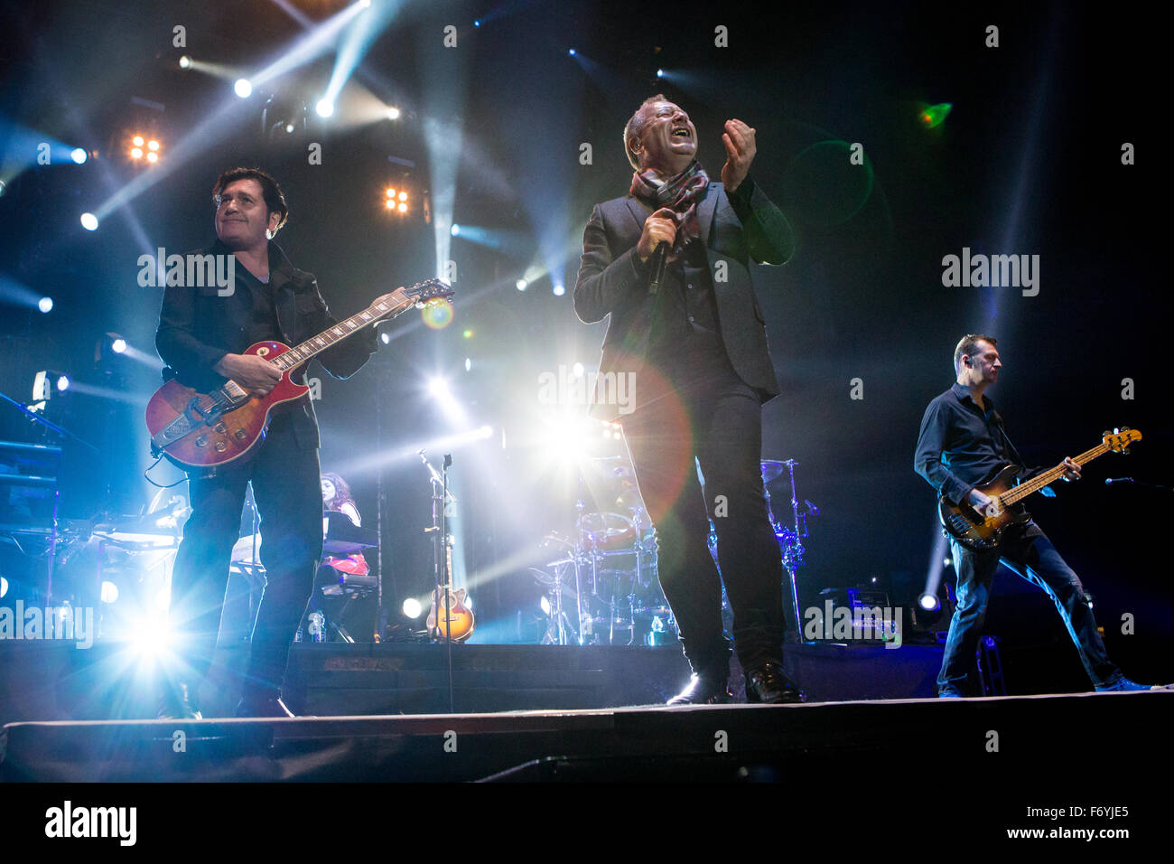 Milan, Italy. 21st November, 2015. The Scottish rock band SIMPLE MINDS performs live on stage at Mediolanum Forum - Stock Image