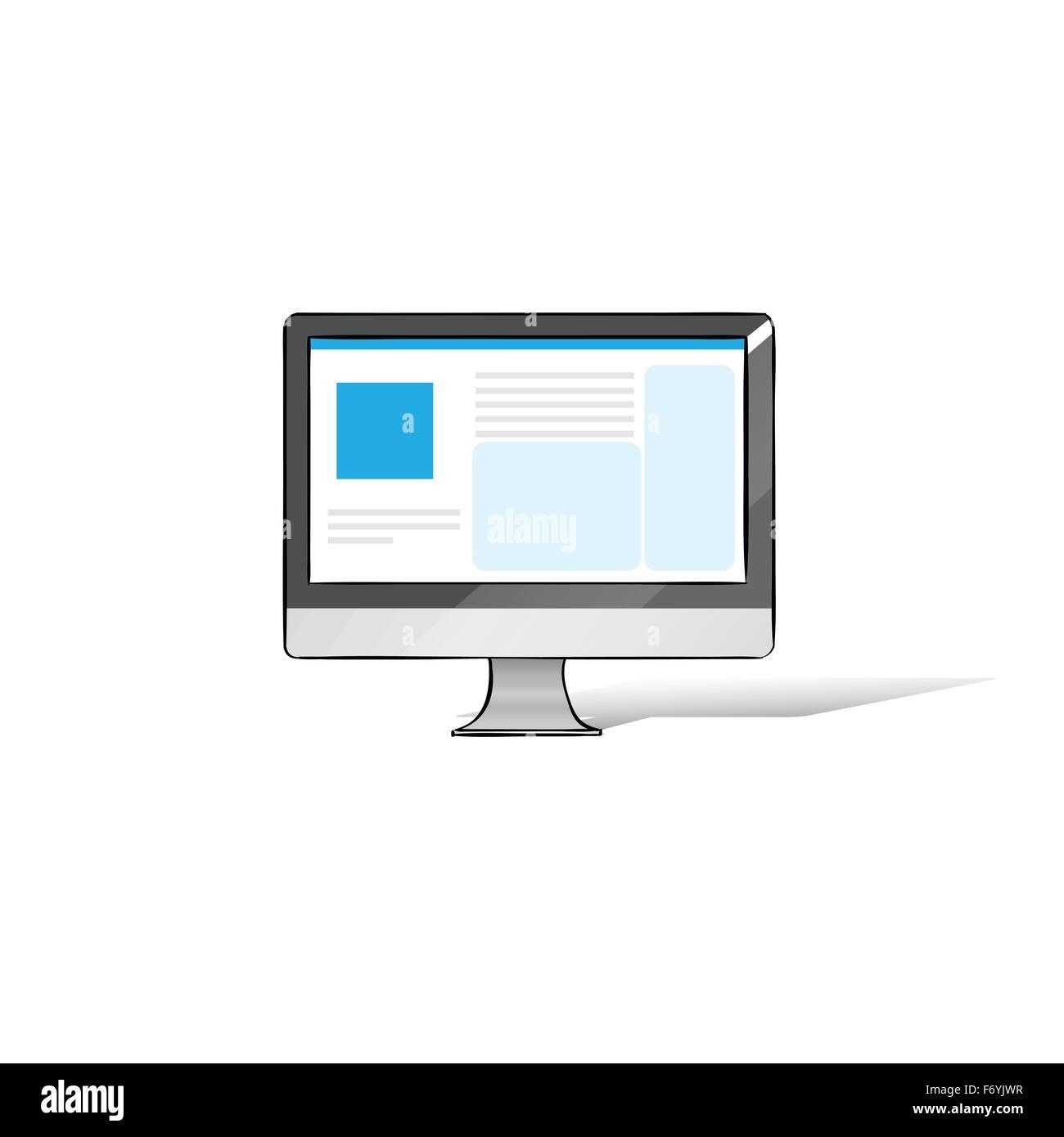 Computer Screen Workstation Hands Draw Sketch Stock Vector Art