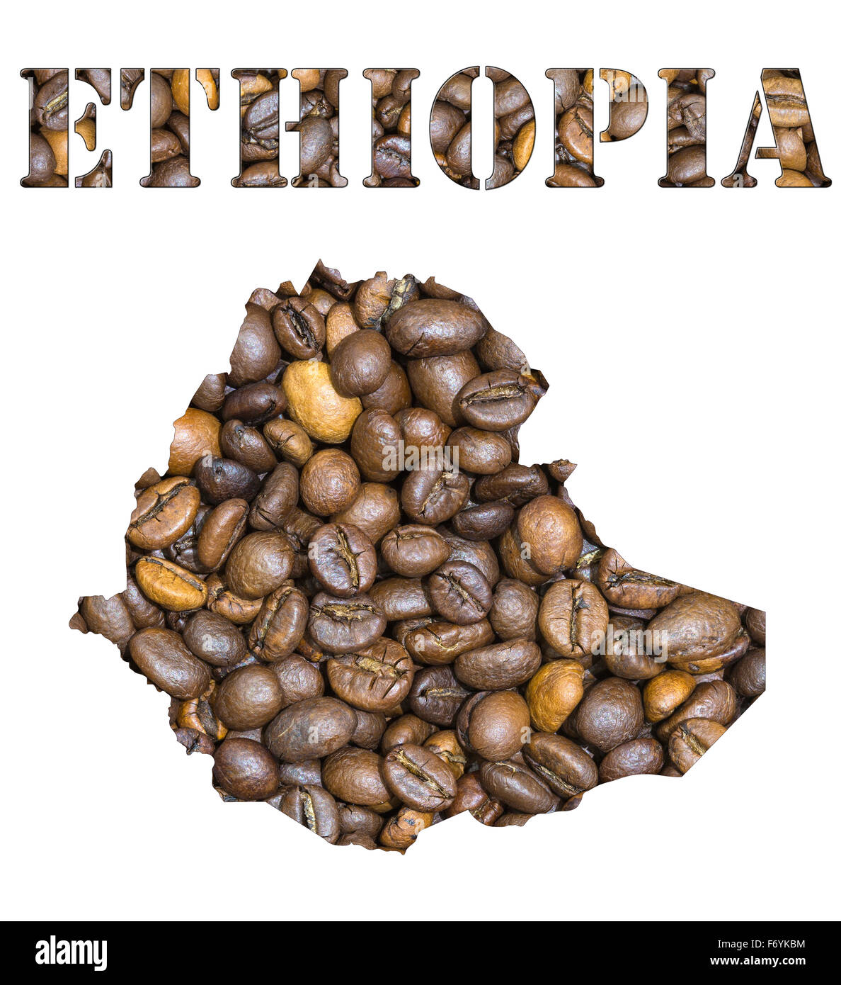 Roasted brown coffee beans background with the shape of the word Ethiopia and the country geographical map outline. - Stock Image