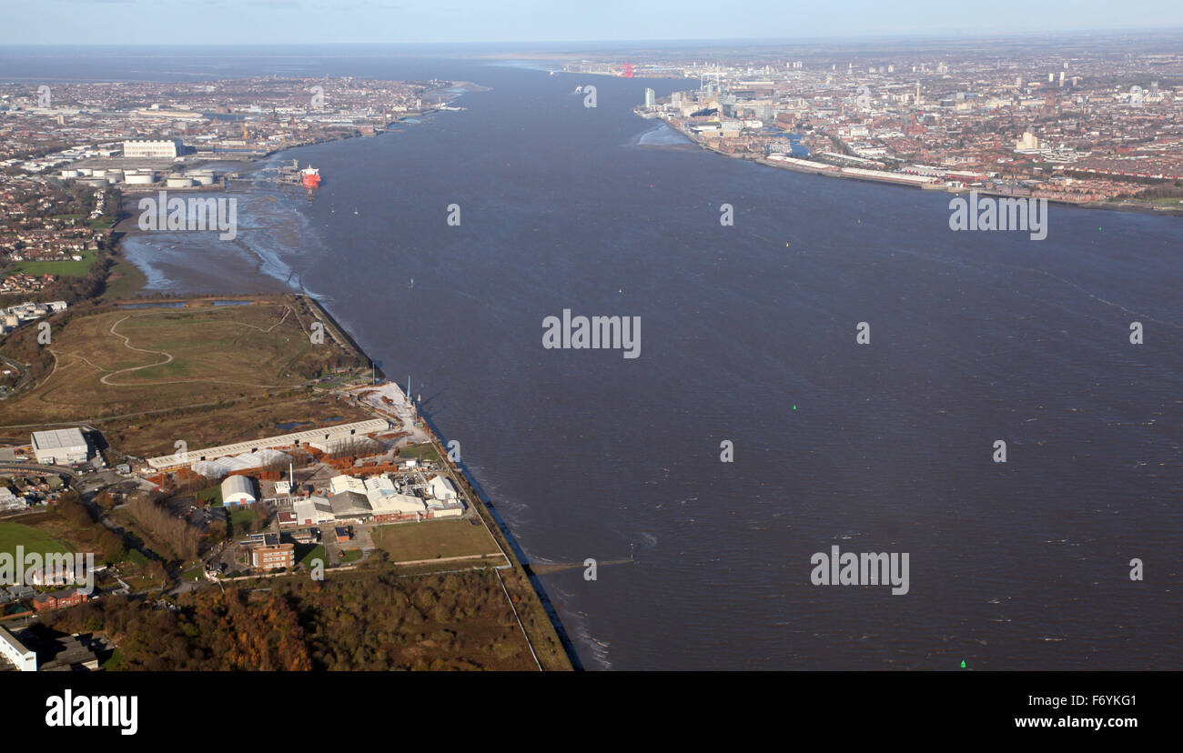 aerial view of the River Mersey Estuary with the Wirral and Liverpool on opposite banks, Merseyside, UK - Stock Image