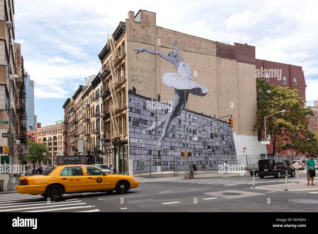Mural of the ballerina Lauren Lovette, by French street artist JR, on the side of the building at 100 Franklin St, Stock Photo