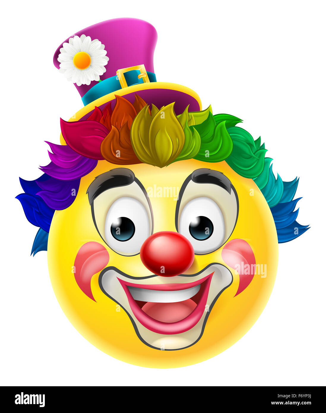 a clown cartoon emoji emoticon smiley face character with