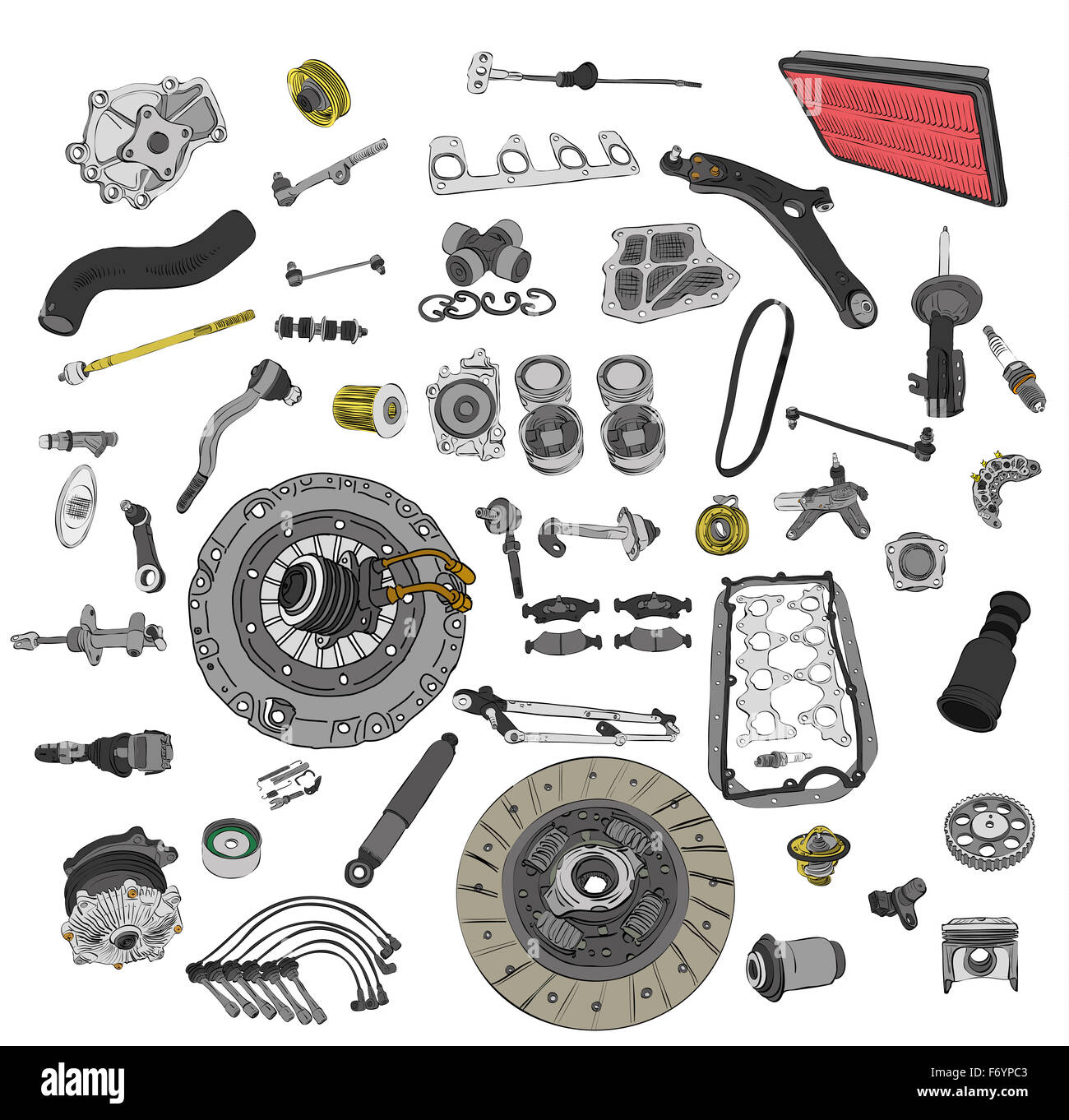 Many spare parts car on the white background set Stock Photo ...