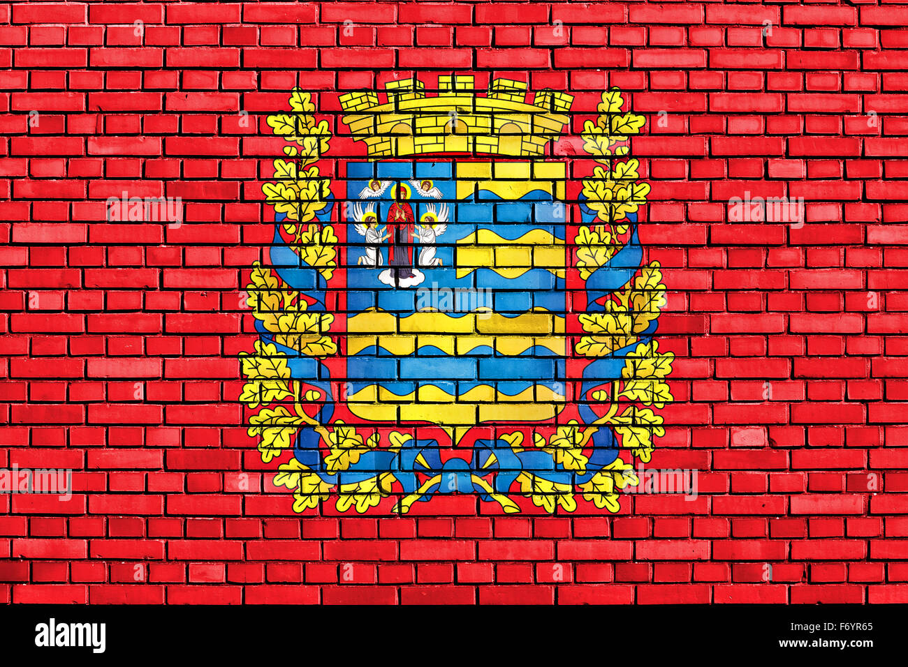 flag of Minsk Region painted on brick wall - Stock Image