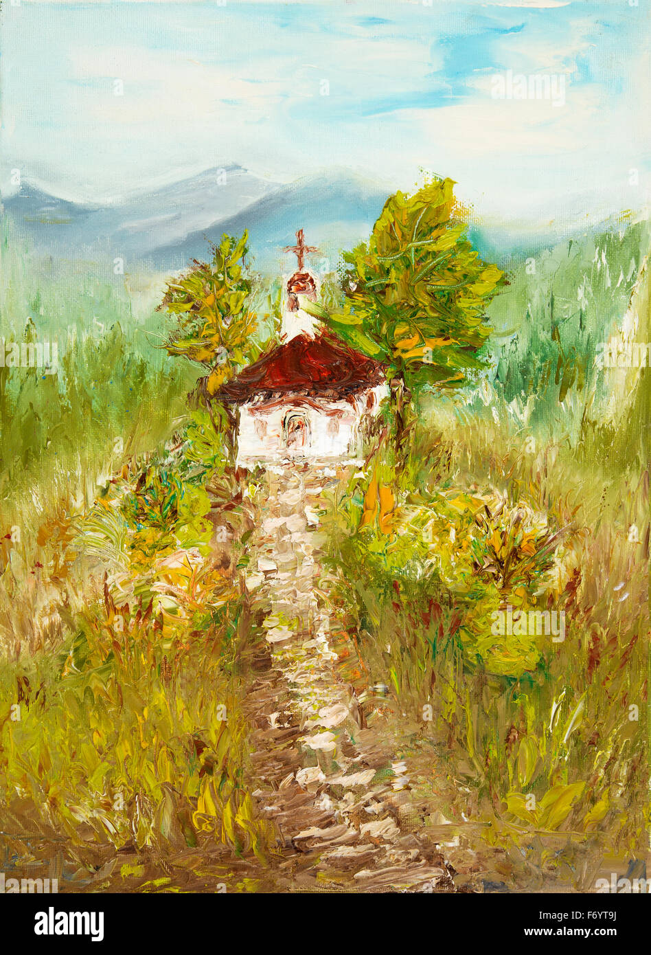 Original Oil Painting Showing Ancient Country Chapel Or Church In The Mountains On Canvas Modern Impressionism Modernismmarin