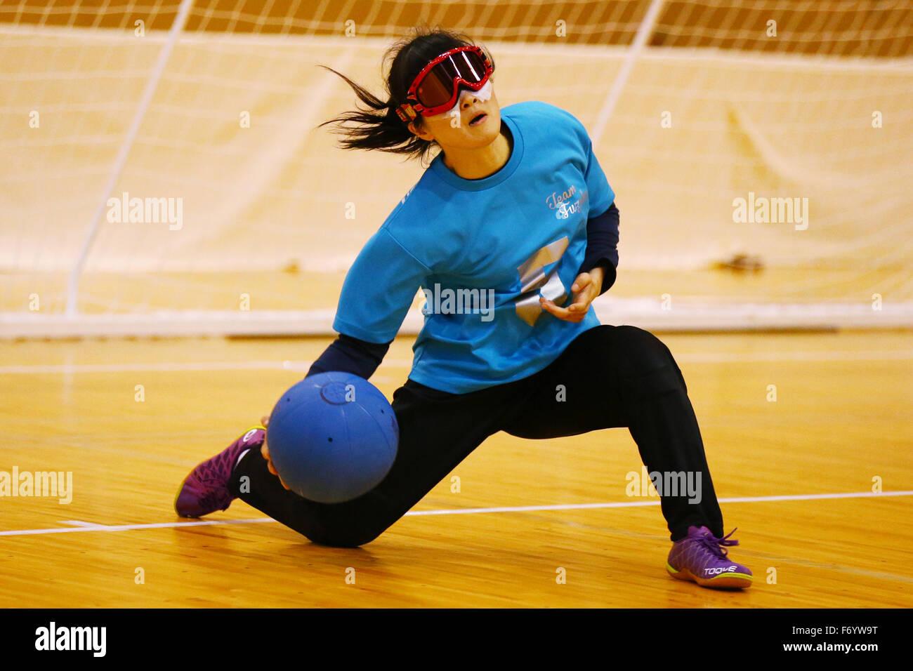 Yuki Tenma NOVEMBER 21, 2015 - Goalball : 2015 Japan Goalball Championships Preliminary round match between Kokureha Stock Photo