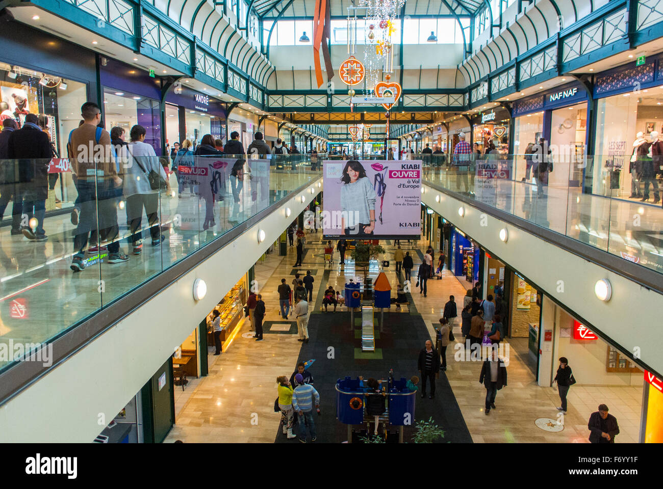 paris france people shopping inside mall centre commercial val stock photo 90353691 alamy. Black Bedroom Furniture Sets. Home Design Ideas