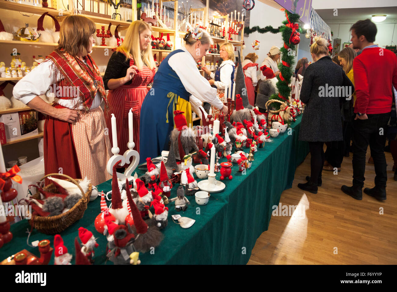 London, UK. 22nd November 2015. Crowds attend this year's Swedish Christmas Market at the Swedish Church. Market - Stock Image