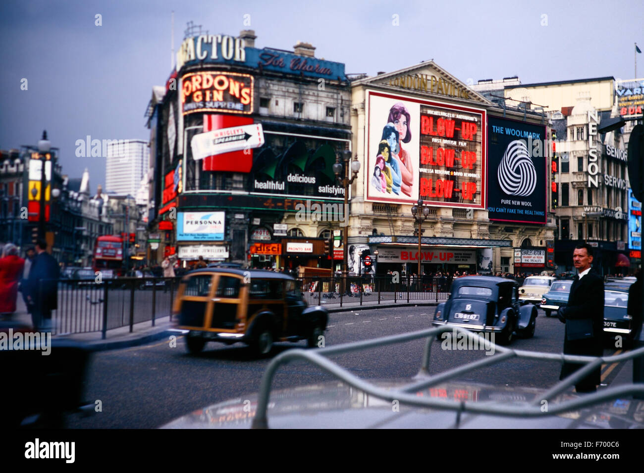 Vintage image of London taken in April 1967 showing various billboards of the time - Stock Image