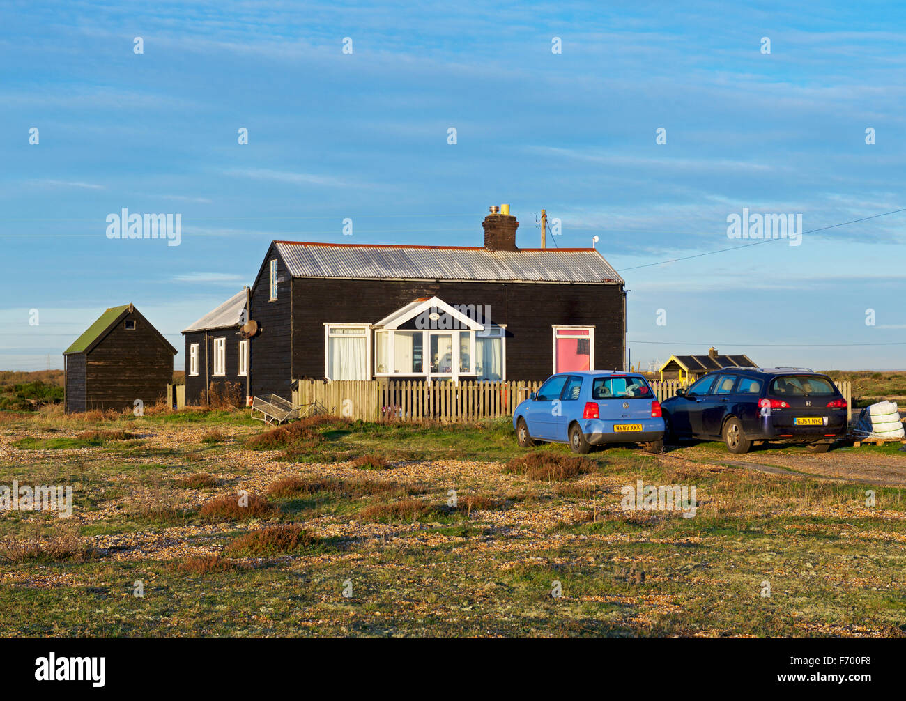Wooden chalet at Dungeness, Kent, England UK - Stock Image