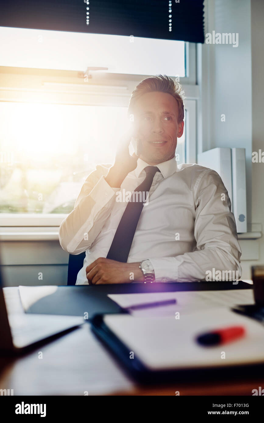 Business man speaking on the phone while sitting at his desk with documents - Stock Image