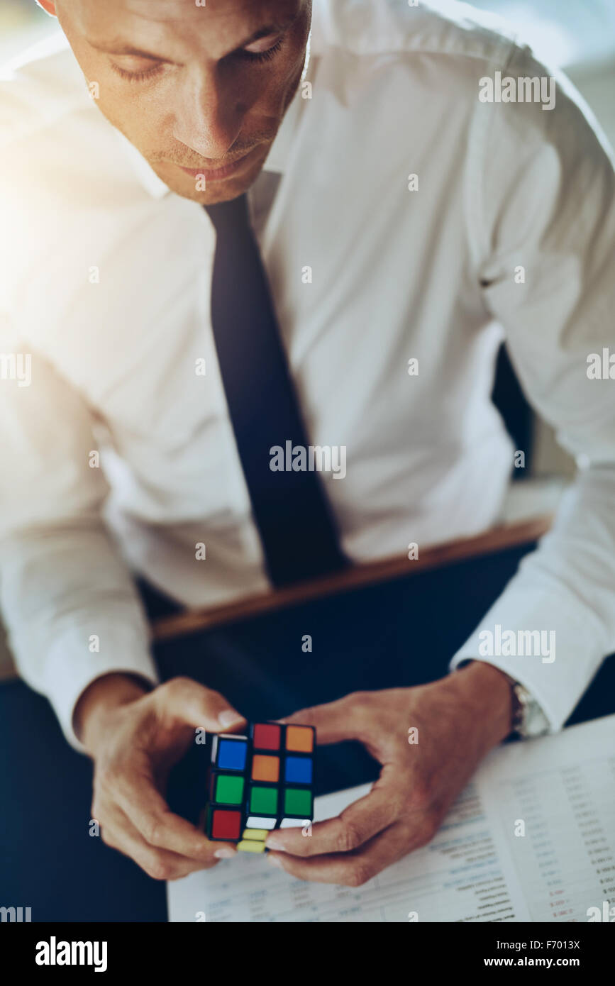 Business problem and challenges concept solving and getting ideas working concentrated - Stock Image