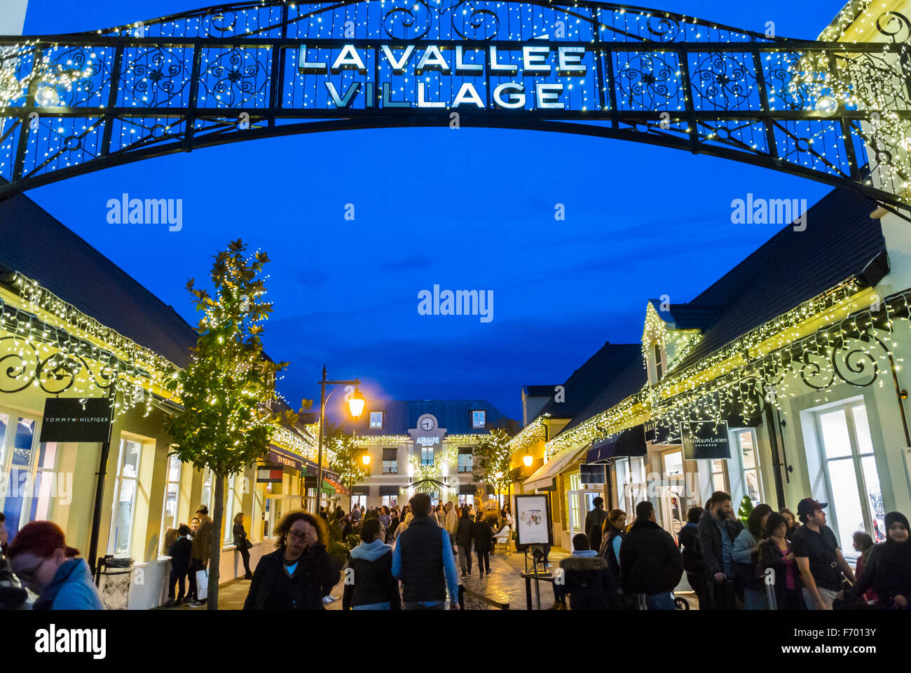 paris france crowd of people shopping in luxury outlet mall