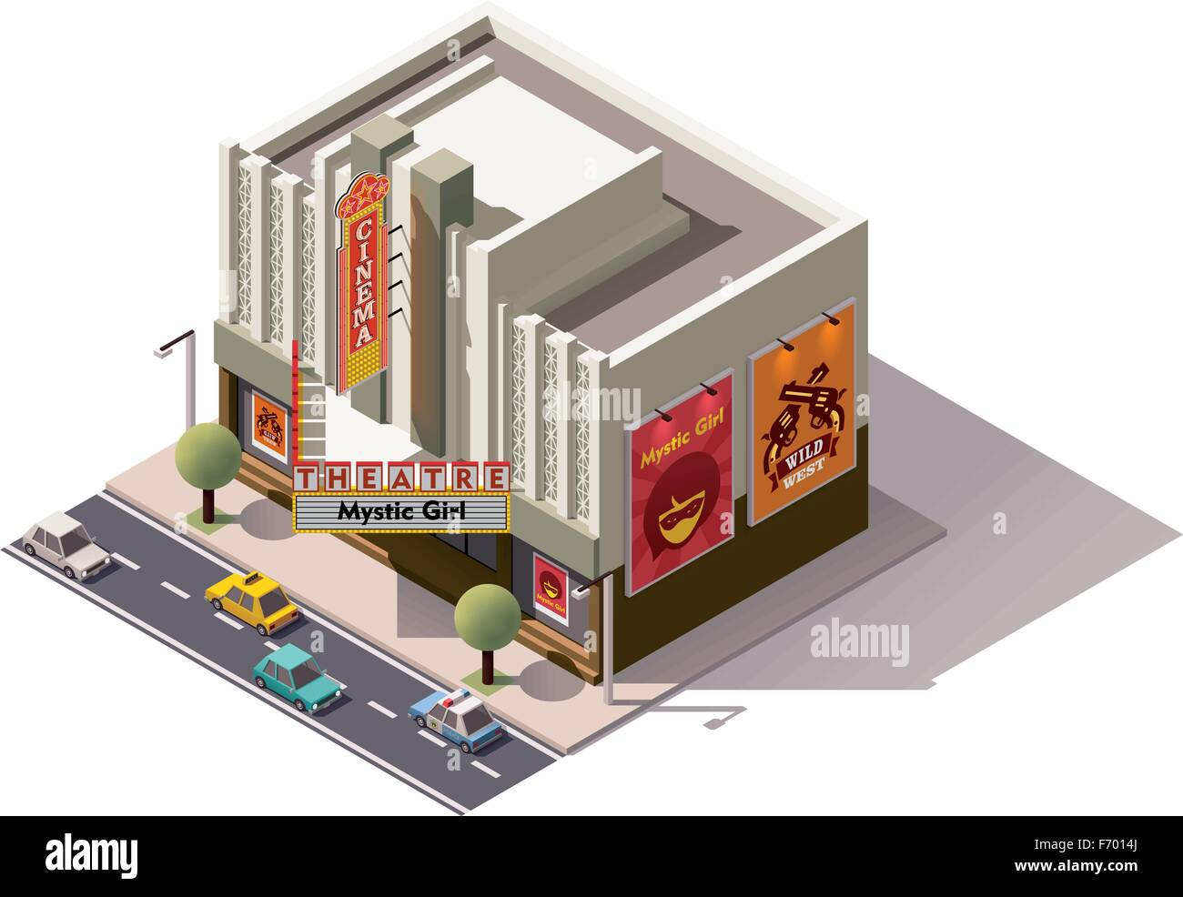 Vector isometric cinema - Stock Vector