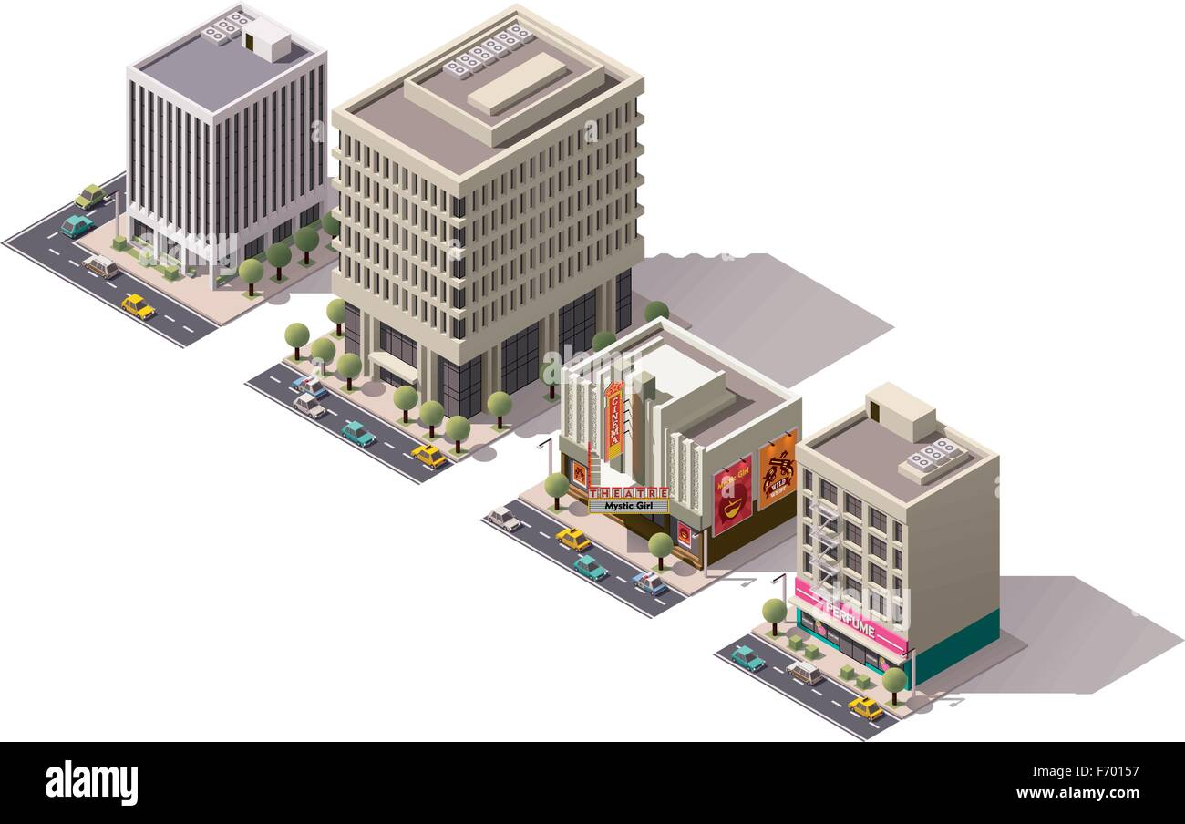 Vector isometric buildings set - Stock Image