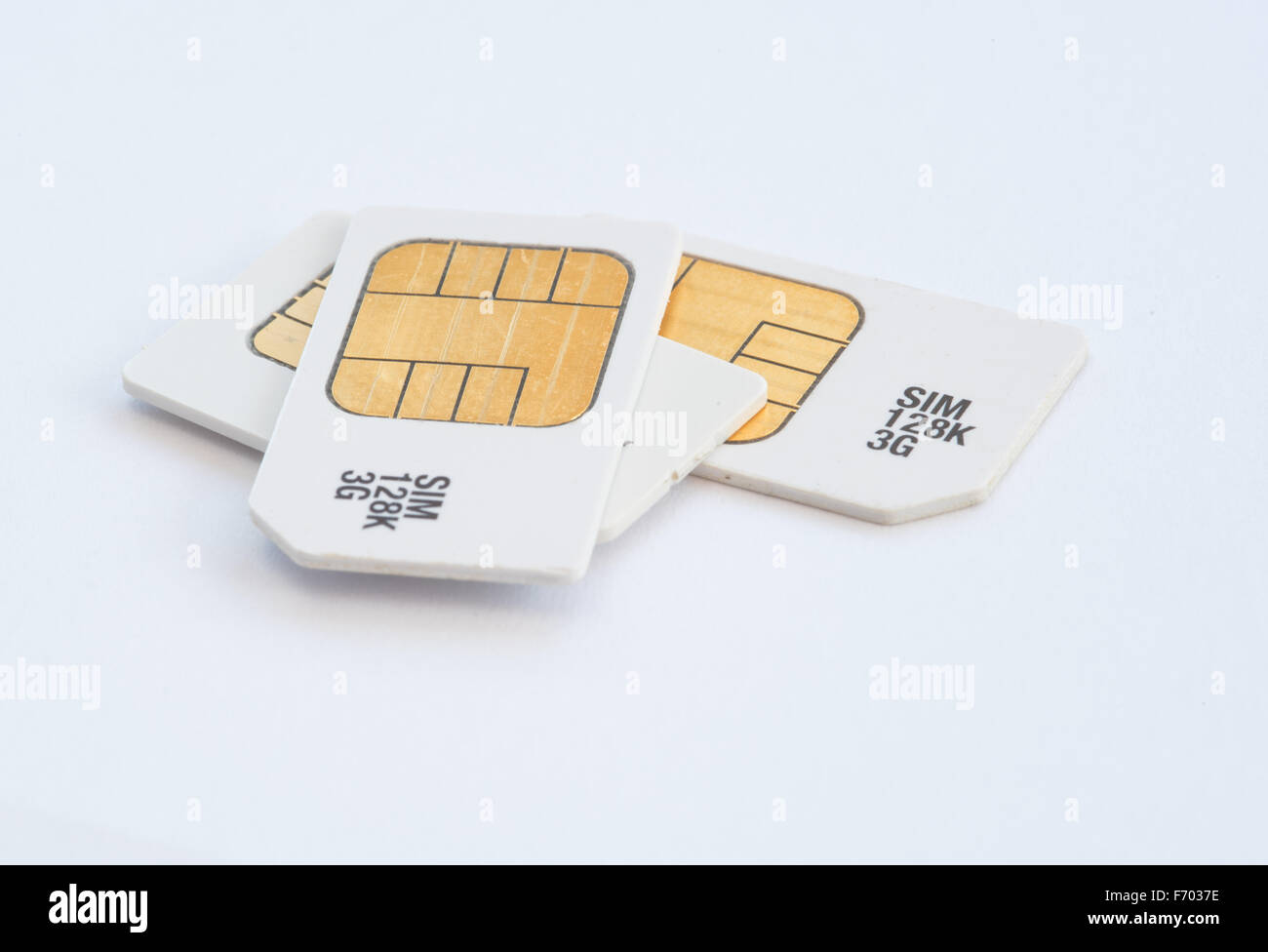 Group of mobile subscriber Identity Module, 3g memory sim cards - Stock Image