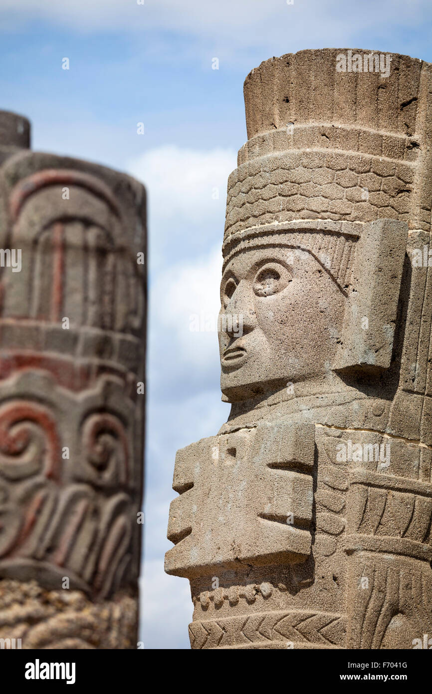 Detail of an Atlante, well preserved Toltec sculptures that stand on top of the main pyramid at Tula, Mexico. - Stock Image