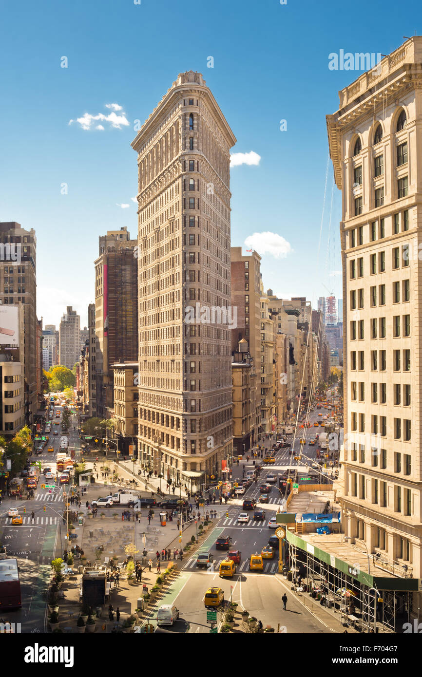 View of historic Flatiron Building in New York City - Stock Image