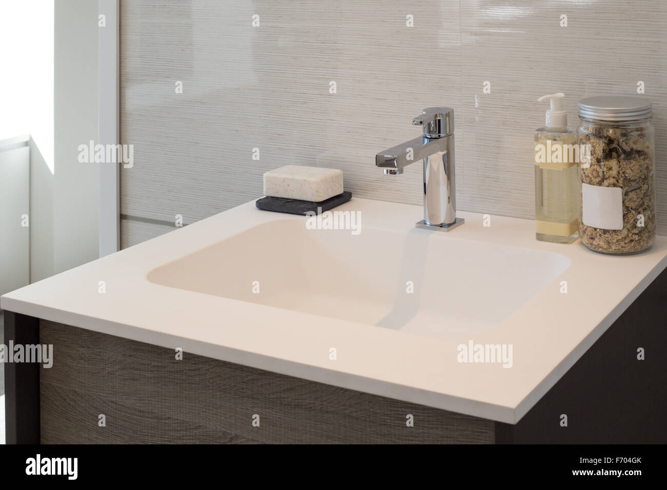 Clean contemporary bathroom sink Stock Photo