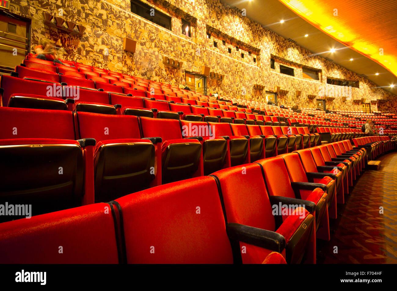 View of empty seats at historic Radio City Music Hall, New York City - Stock Image