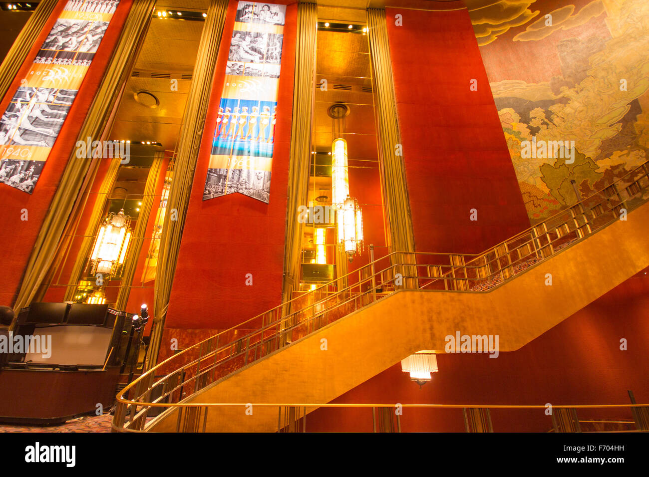 View of staircase and ornately decorated walls at historic Radio City Music Hall in New York City - Stock Image