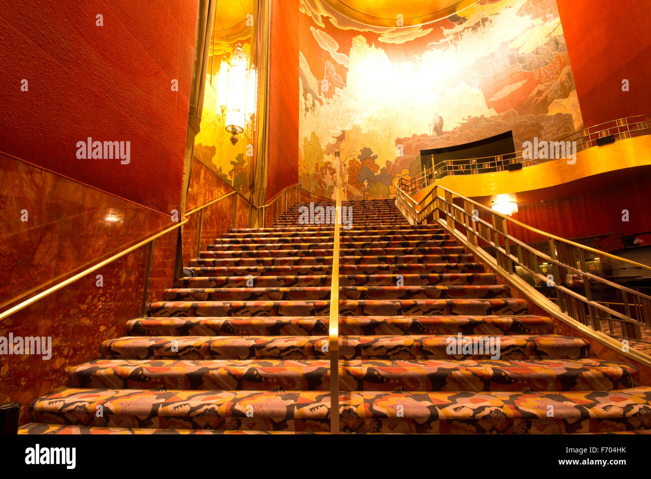 View of staircase at historic Radio City Music Hall in New York City - Stock Image
