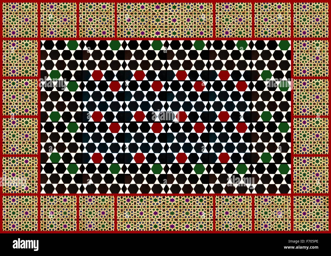 Moorish geometric design wall tiles - collage - Stock Image