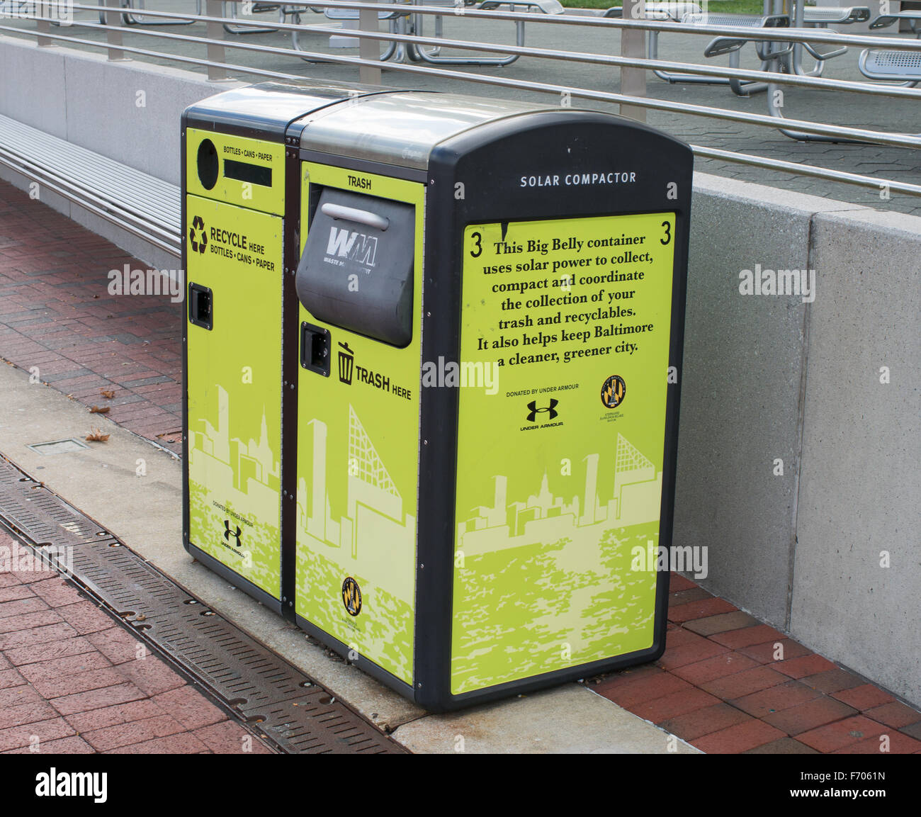 Big belly solar compactor trash can Baltimore, Maryland, USA - Stock Image