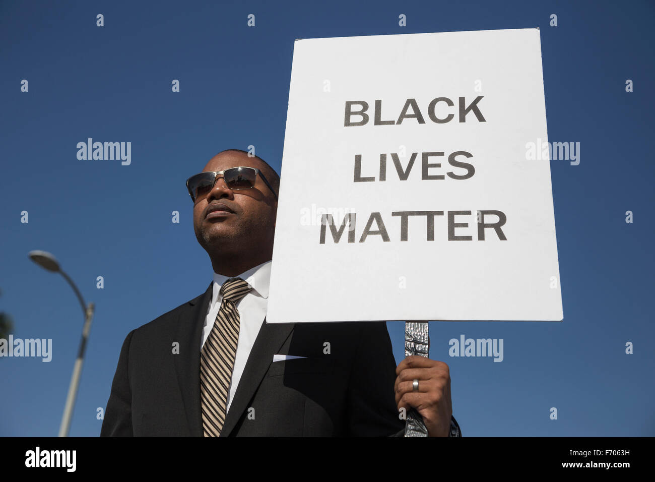 Los Angeles, California, USA, January 19, 2015, 30th annual Martin Luther King Jr. Kingdom Day Parade, black man - Stock Image