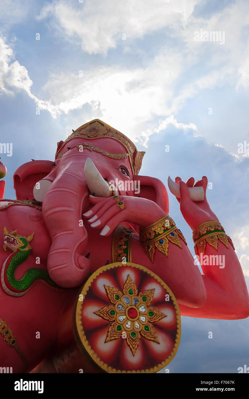 Pink ganesha statue in wat saman rattanaram, chachoengsao thailand - Stock Image