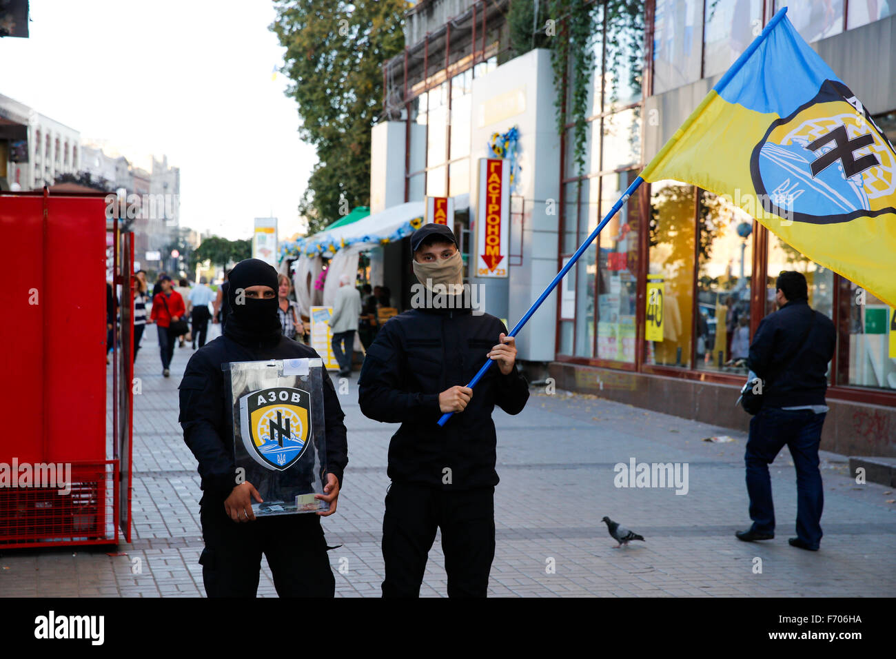 Kiev. Ukraine. (Photo by Jeremy Hogan)Members of the ultra nationalist Azov Battalion carry their flag, and try - Stock Image