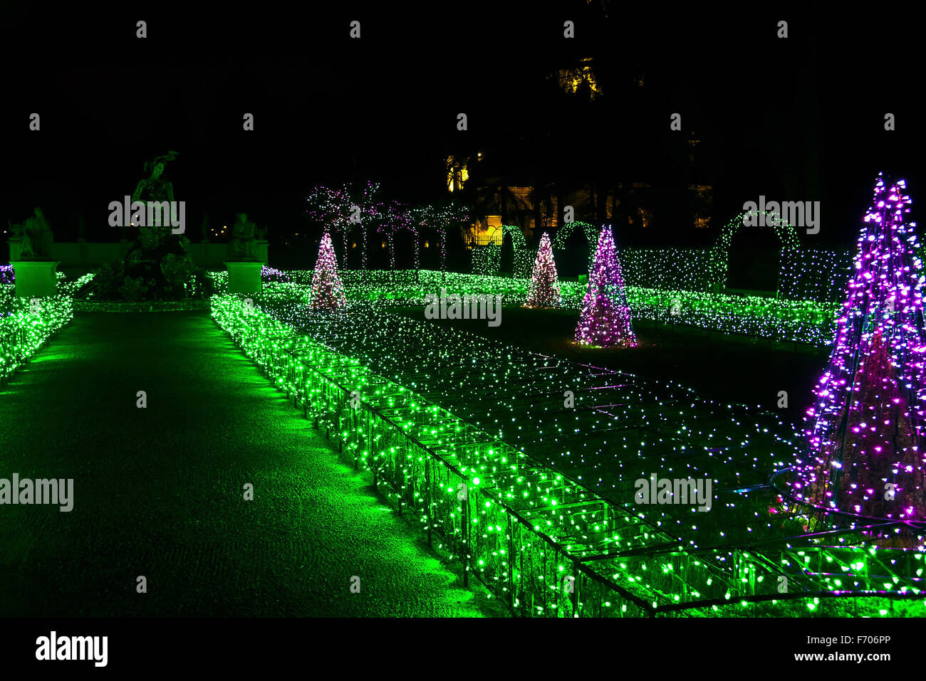 Christmas Illumination of Fir-Tree and Grass Sculptures near Road at Night - Stock Image