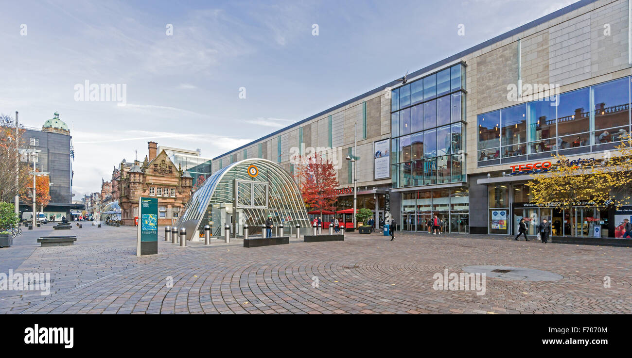 St. Enoch Square in Glasgow Scotland with new entrance to the Subway - Stock Image