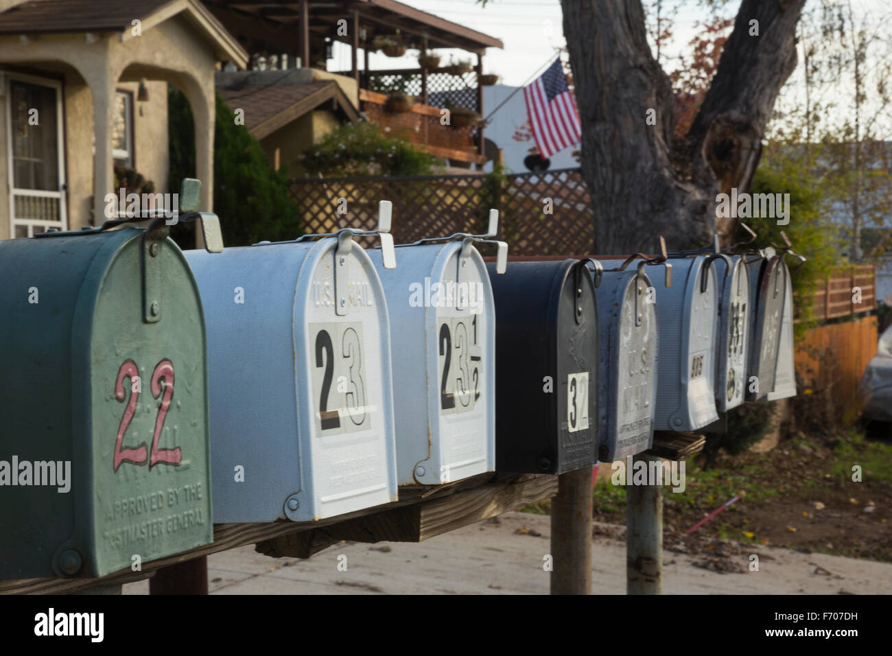 Oak View, California, USA, December 15, mailboxes all lined up - Stock Image