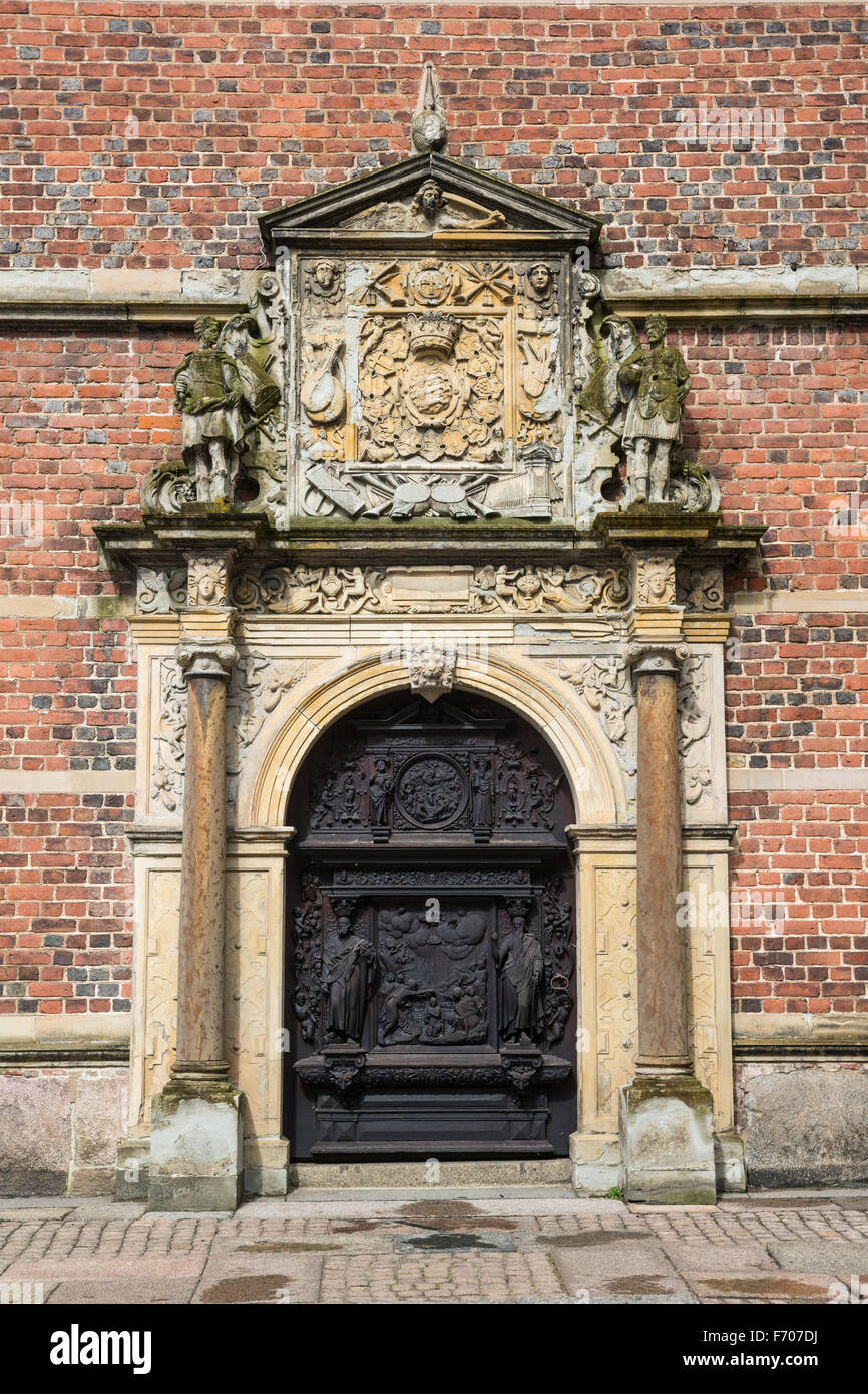 Door in  the Frederiksborg Castle (Slot), a Baroque palatial complex in Hillerod, Denmark - Stock Image